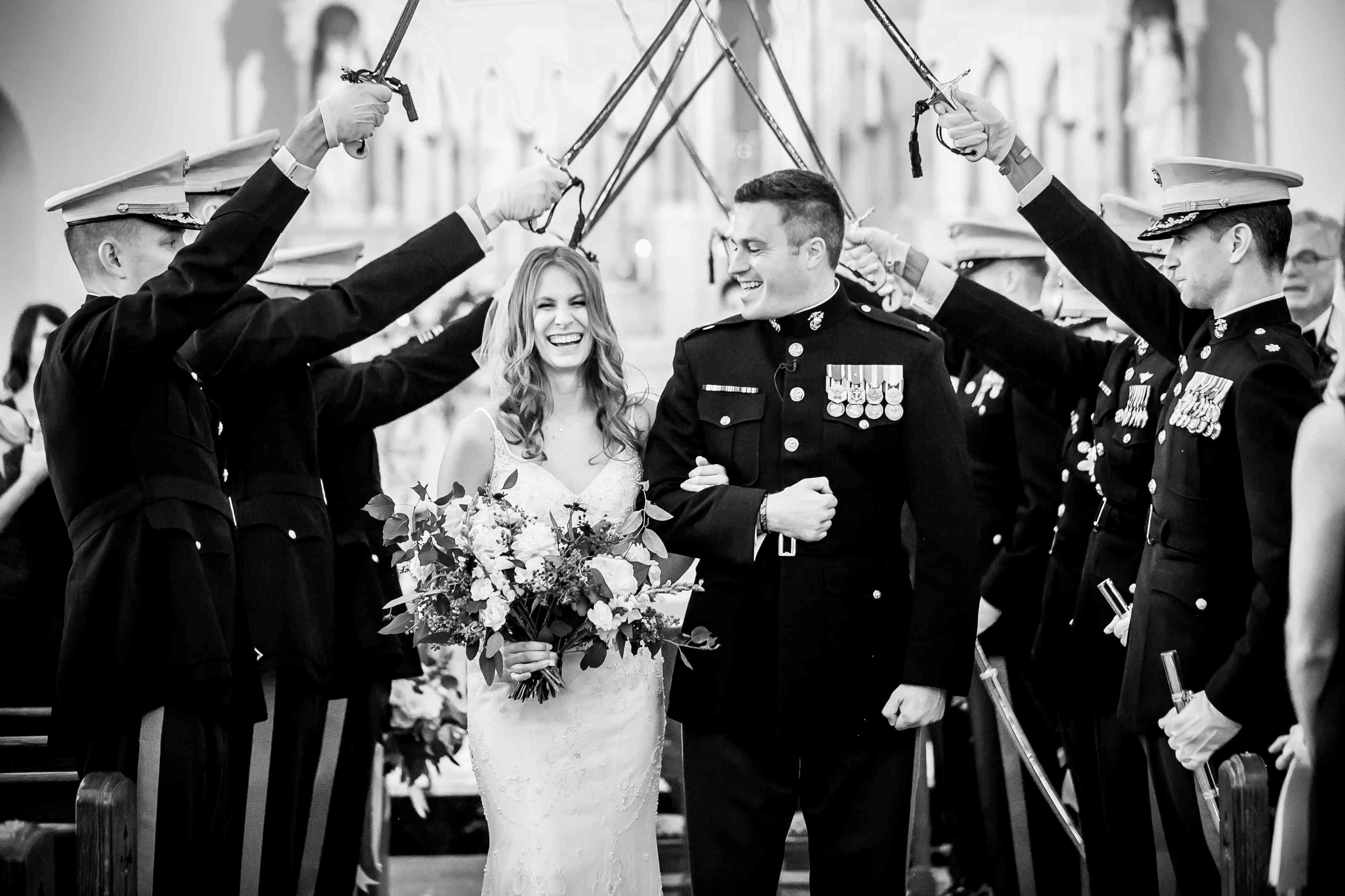 Bride and groom military recessional