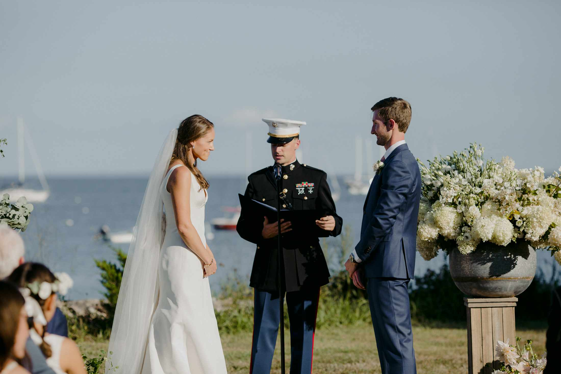 at-home rustic massachusetts wedding, bride and groom at harbor ceremony
