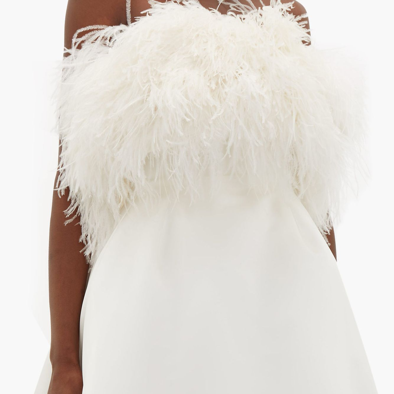 Feather-bodice duchess-satin dress