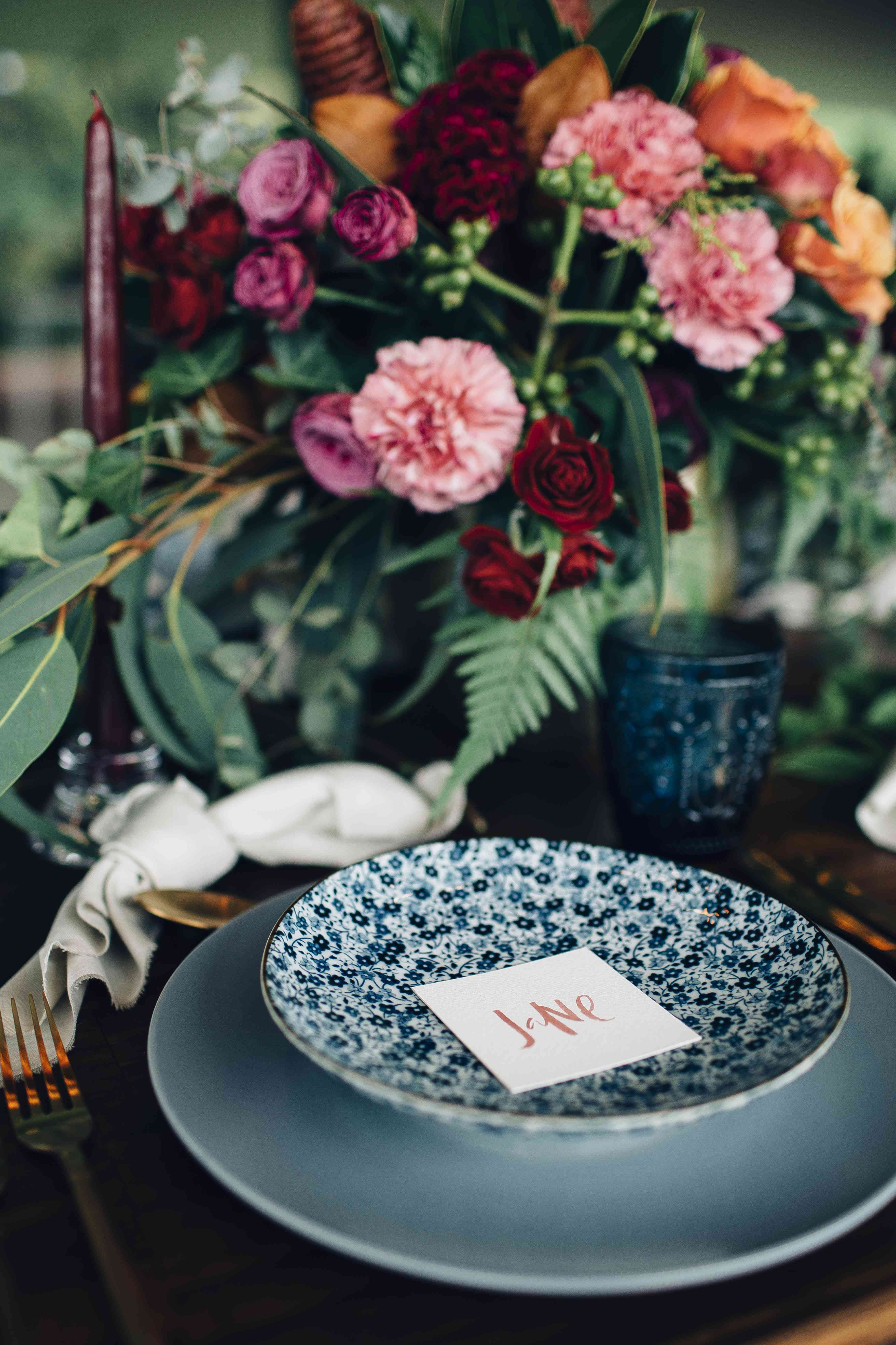 Blue floral plate table setting