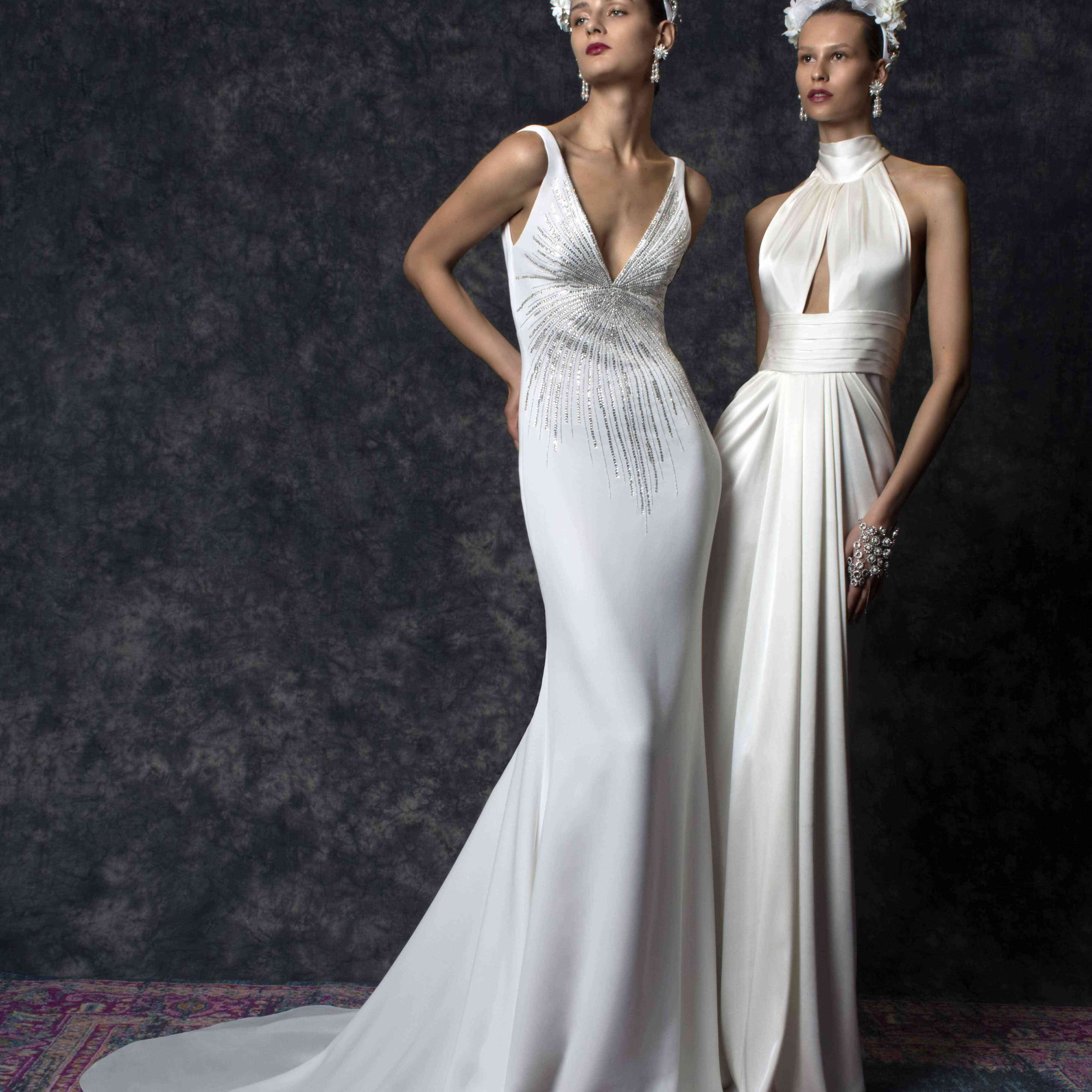 Two models side-by-side in white wedding gowns