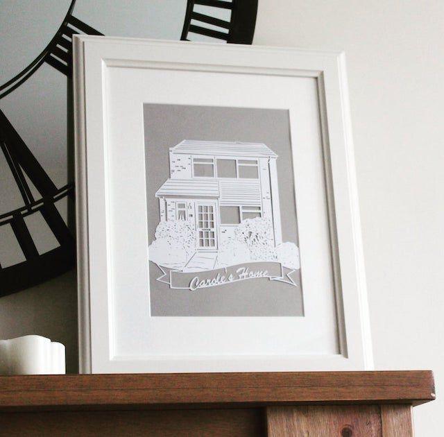Personalized House Portrait Paper Cut