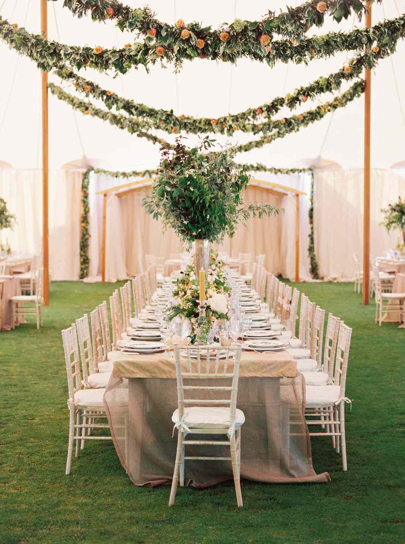 Hanging garlands at a reception