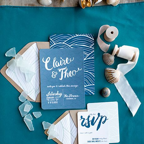 Blue and white wedding nautical invitation suite