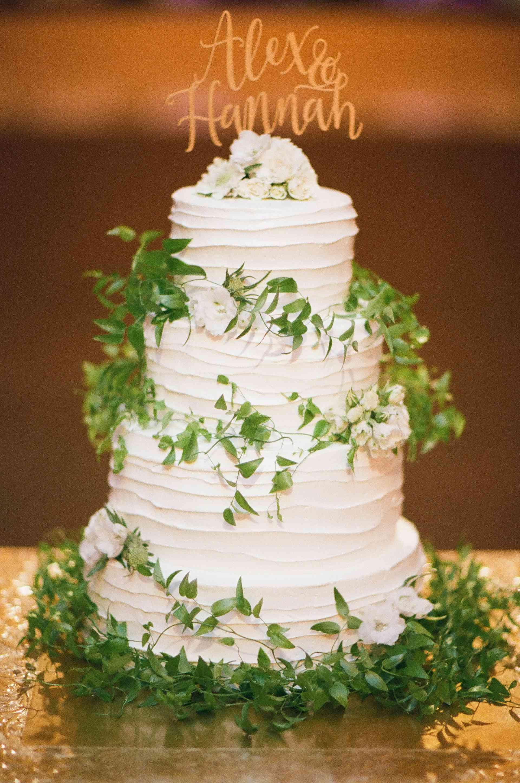 Greenery-Covered Wedding Cake