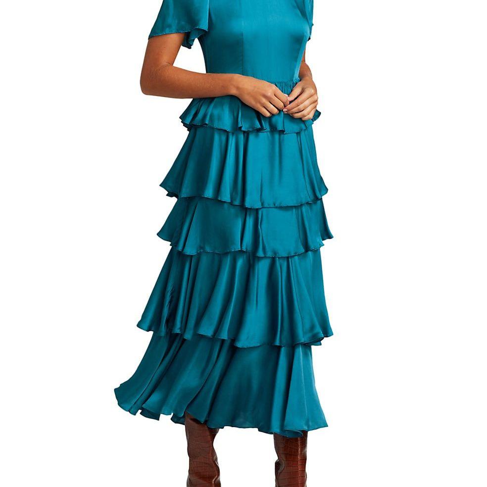 Rhode Serena Ruffle Midi Dress $475