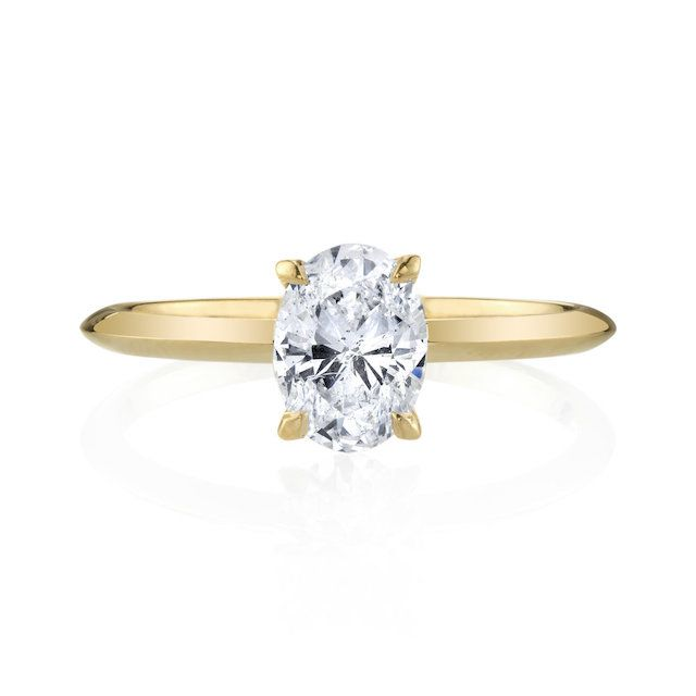 Lizzie Mandler Oval Diamond With Signature Knife Edge Solitaire Band