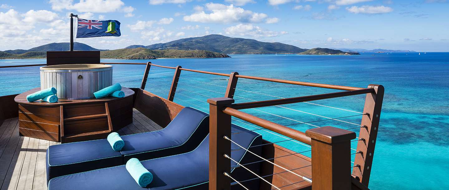 The Crows Nest deck at Necker Island overlooking the ocean and mountains