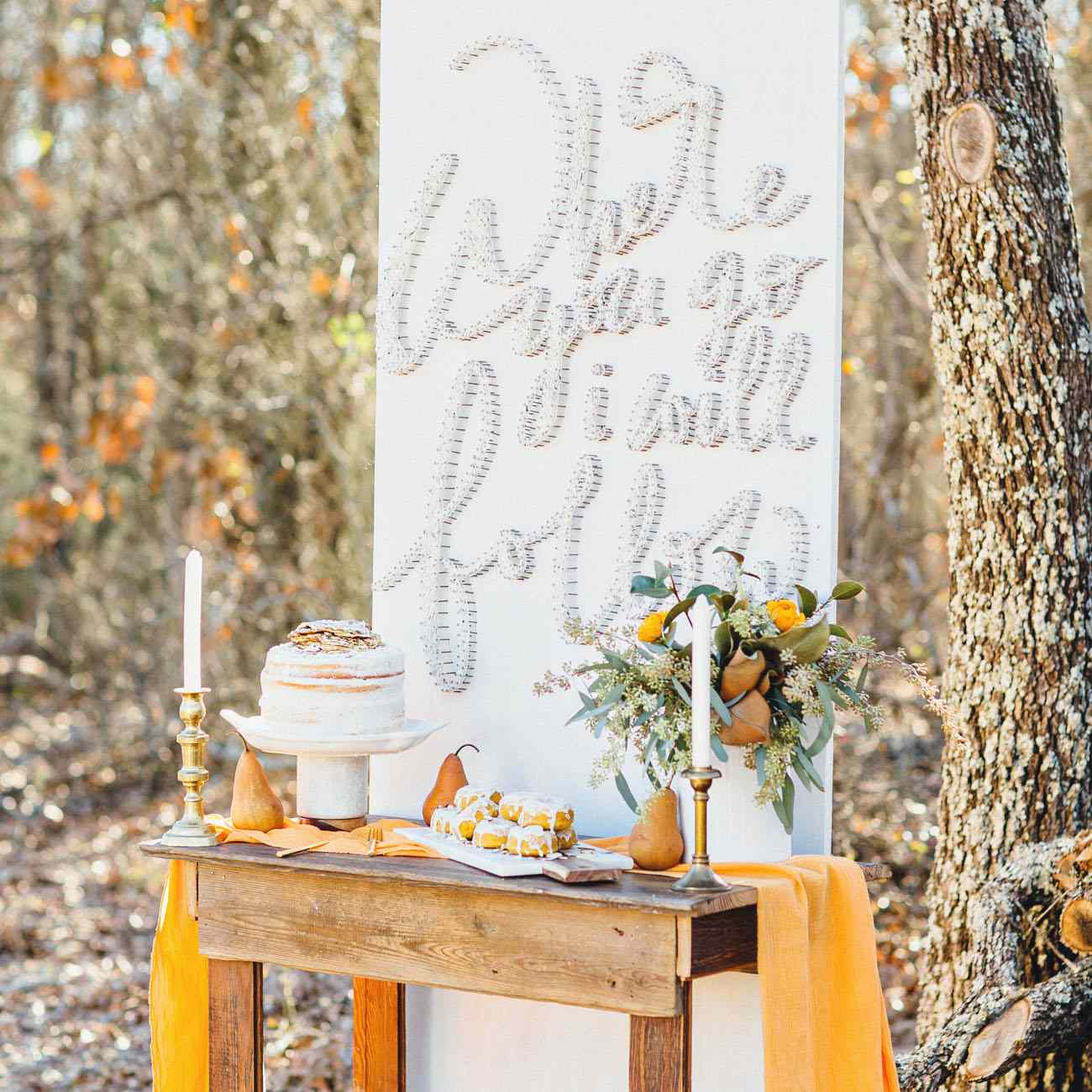 Dessert wall with yellow accents