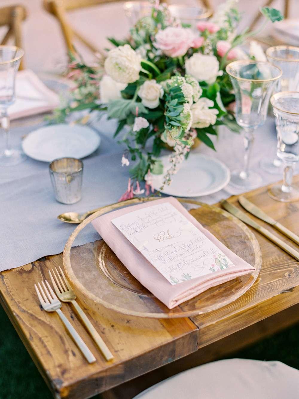Pink napkin on a table setup