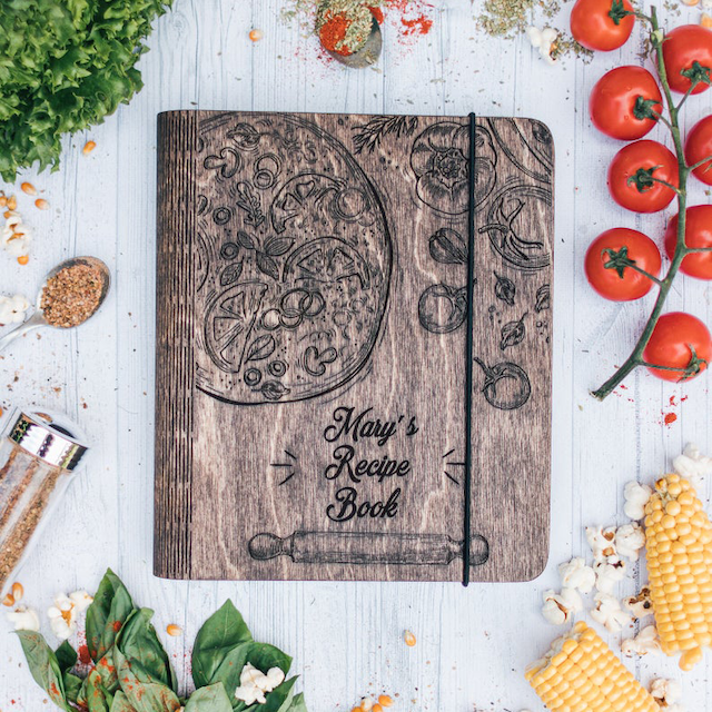Personalized Wooden Recipe Book Binder