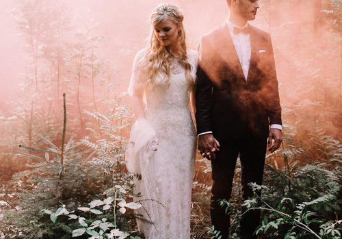 Whimsical Woodland Wedding Photo with Pink Smoke Bombs