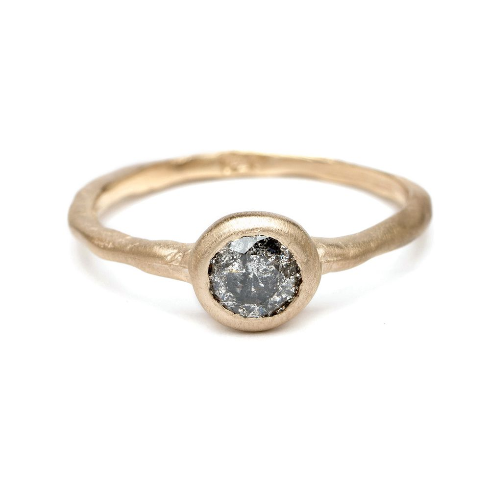 Sofia Kaman Natural Beauty - Salt and Pepper Diamond Solitaire Engagement Ring