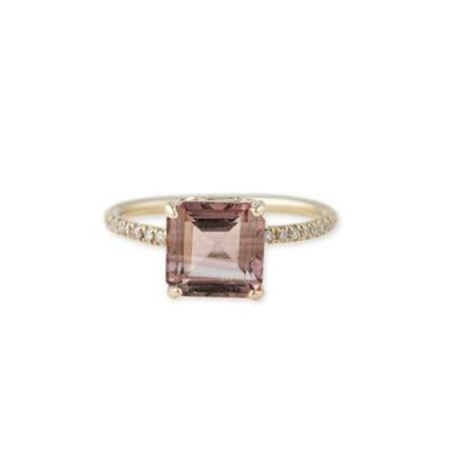 Jacquie Aiche Pave Vintage Band Square Morganite Ring