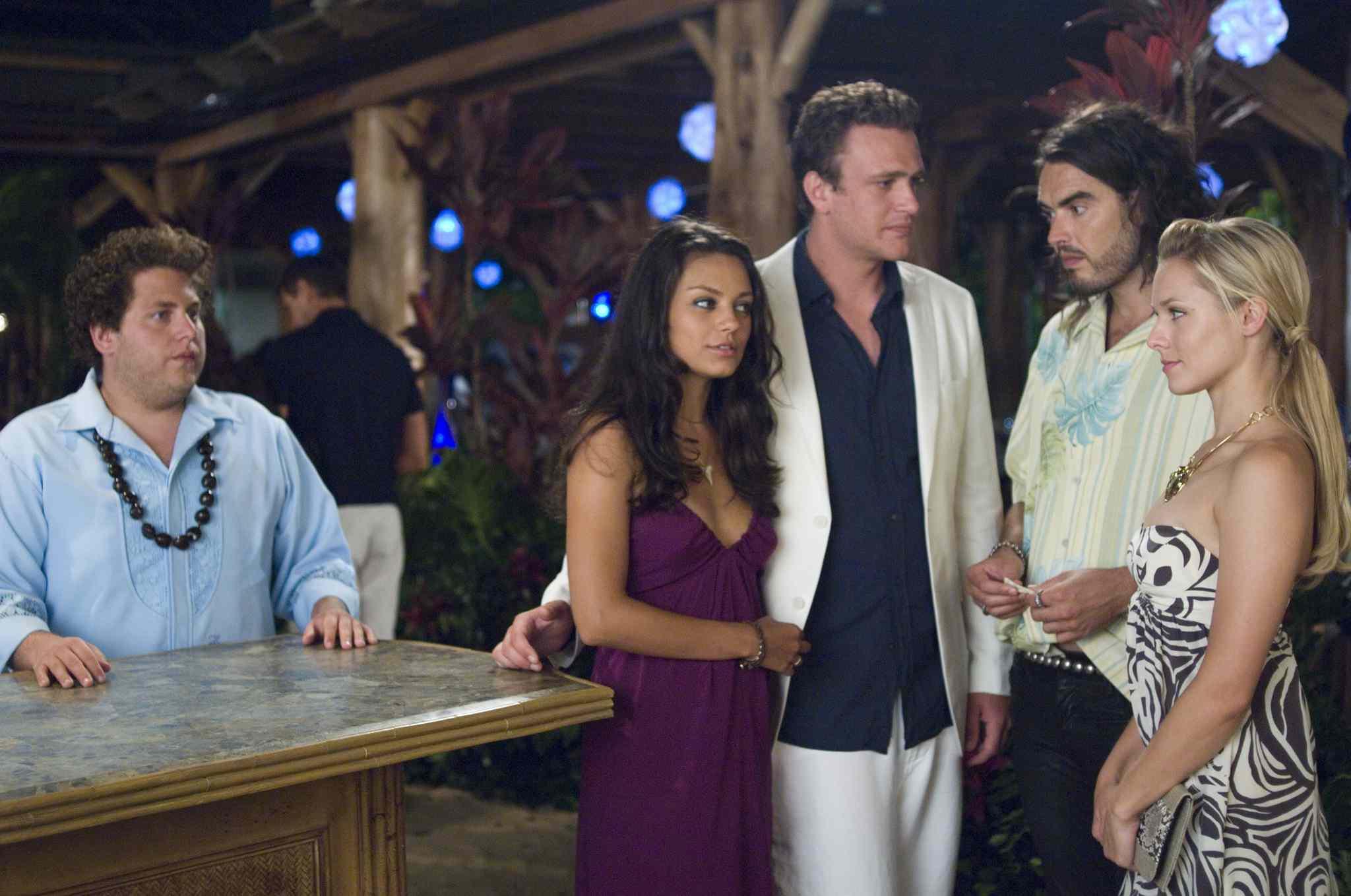 Jonah Hill, Mila Kunis, Jason Segel, Russell Brand, and Kristen Bell in a scene from