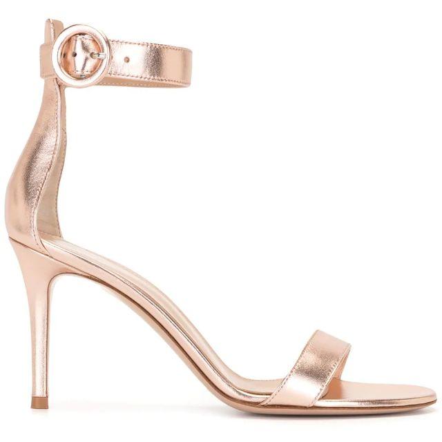 Metallic rose gold strappy sandal stiletto