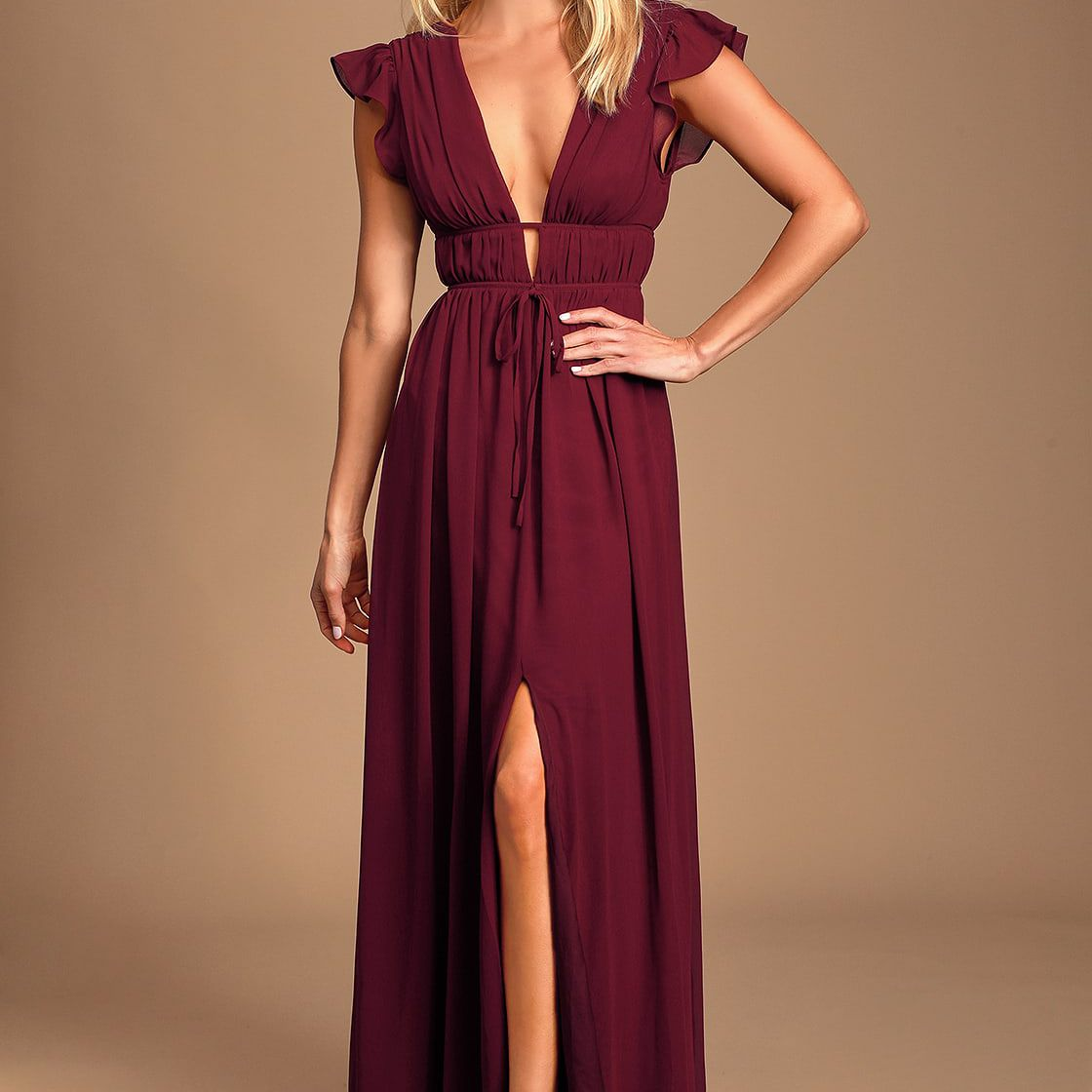 Lulus I'm All Yours Burgundy Ruffled Maxi Dress, $72