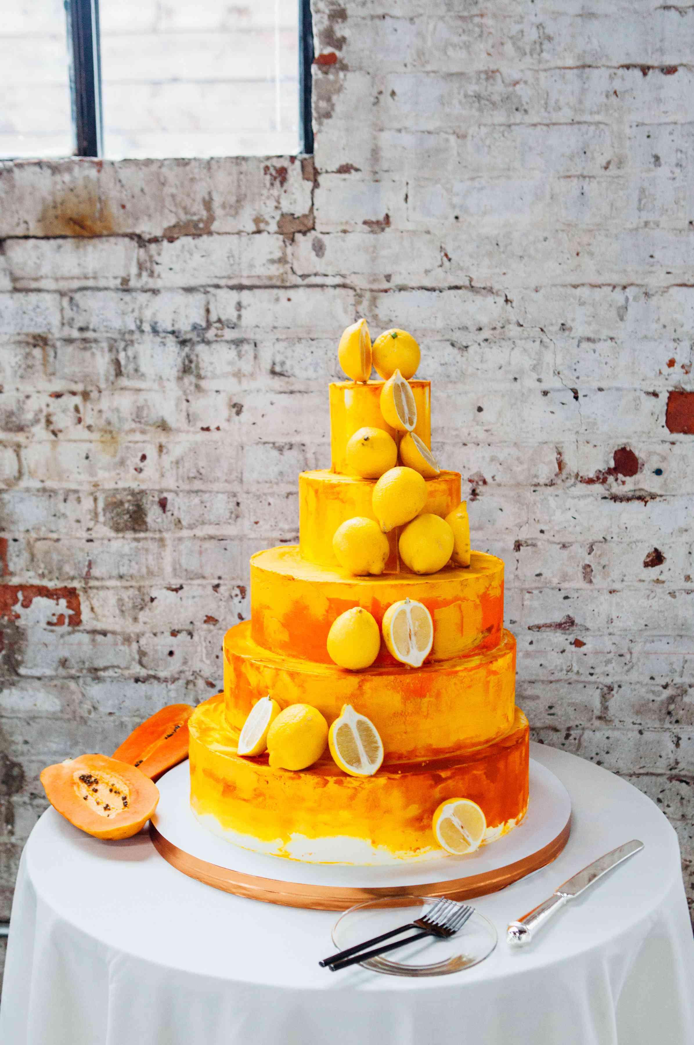 Tropical lemon wedding cake