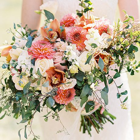 Colorful bouquet with eucalyptus