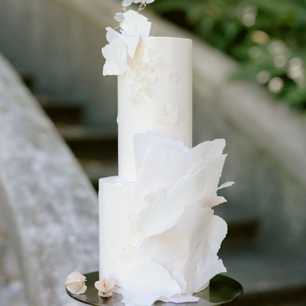 two tiered white cake