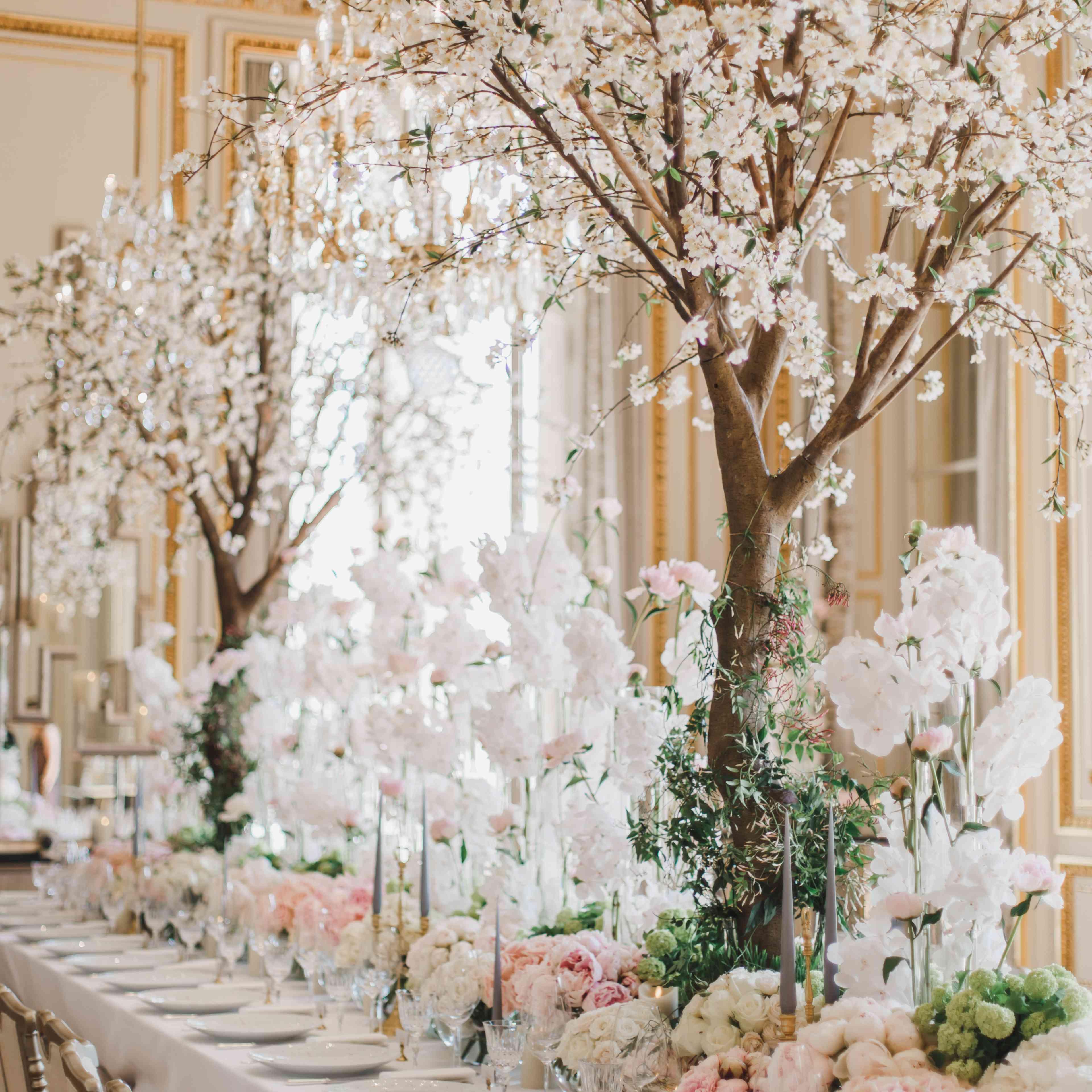 white blossom tree centerpiece