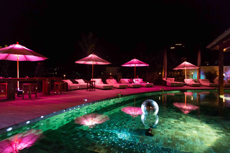 neon lights at pool