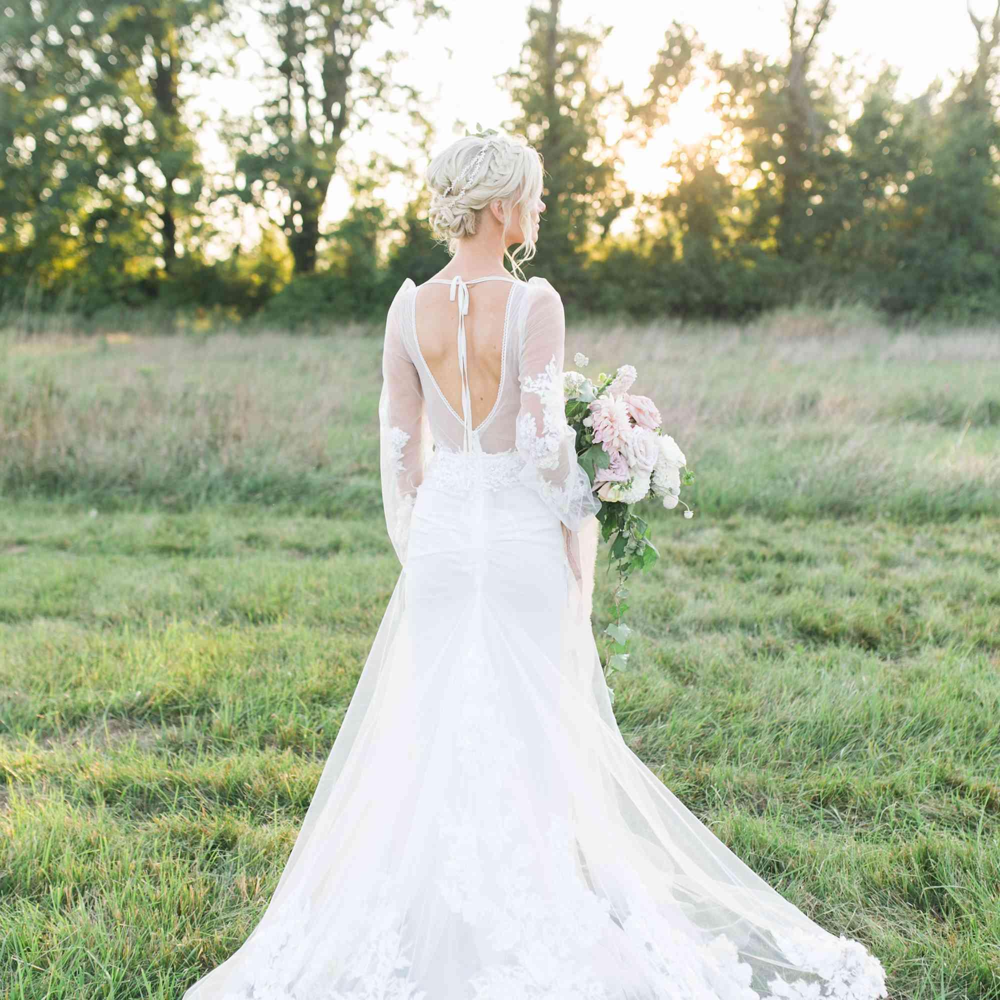 back of wedding dress floral detail