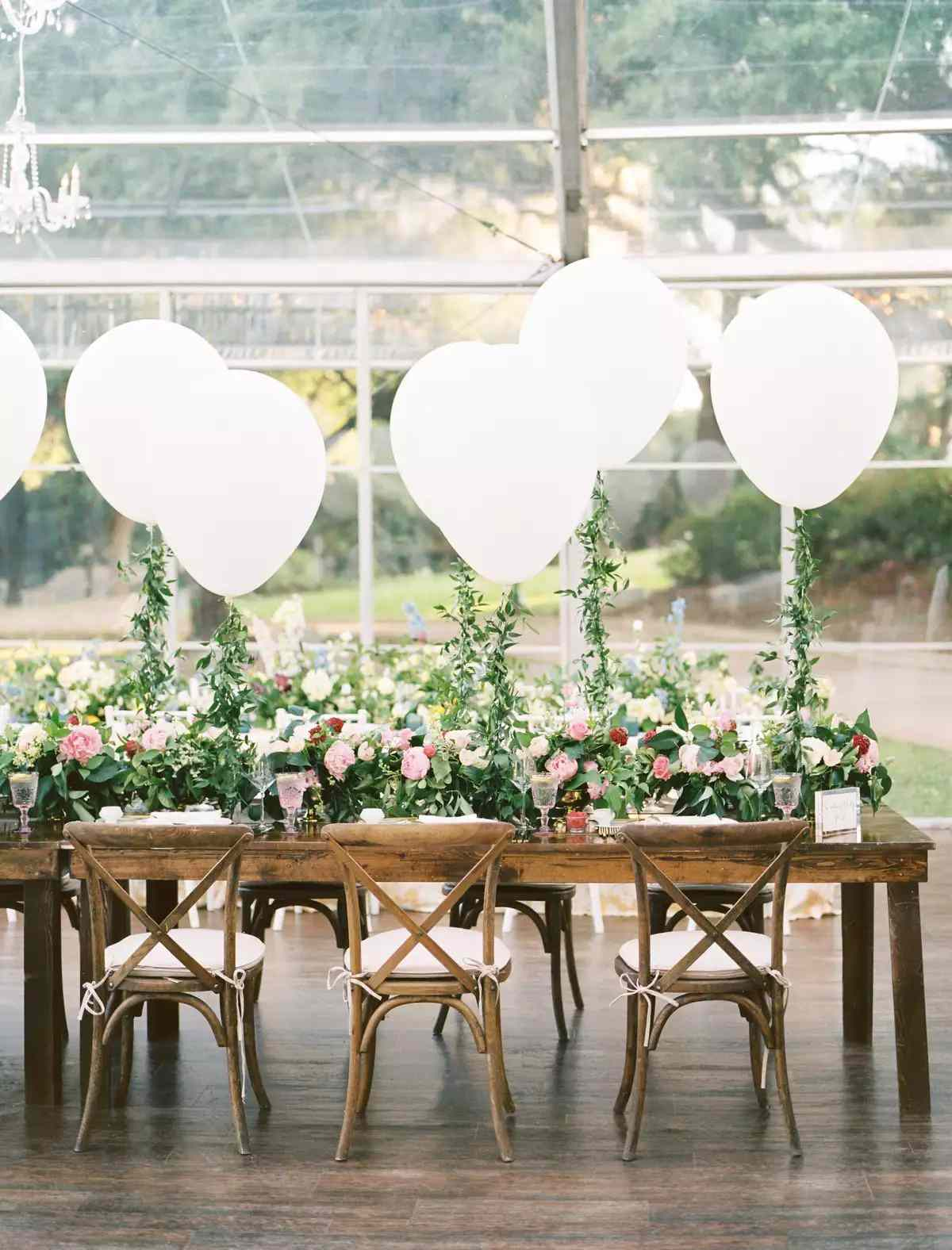 White Balloons on Reception Table