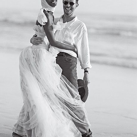 Iman marries David Bowie in Chanel Haute Couture, 1995