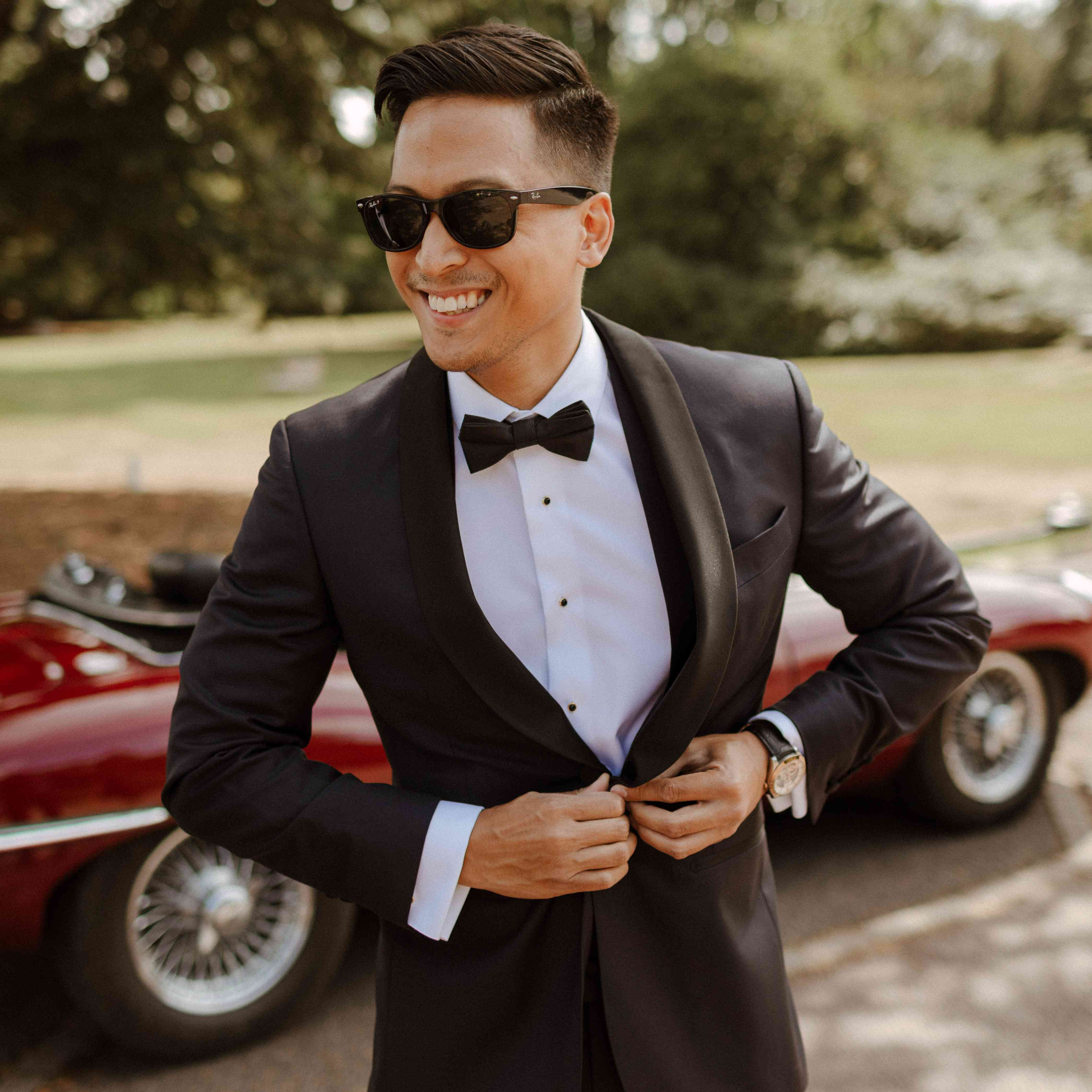 the groom with sunglasses