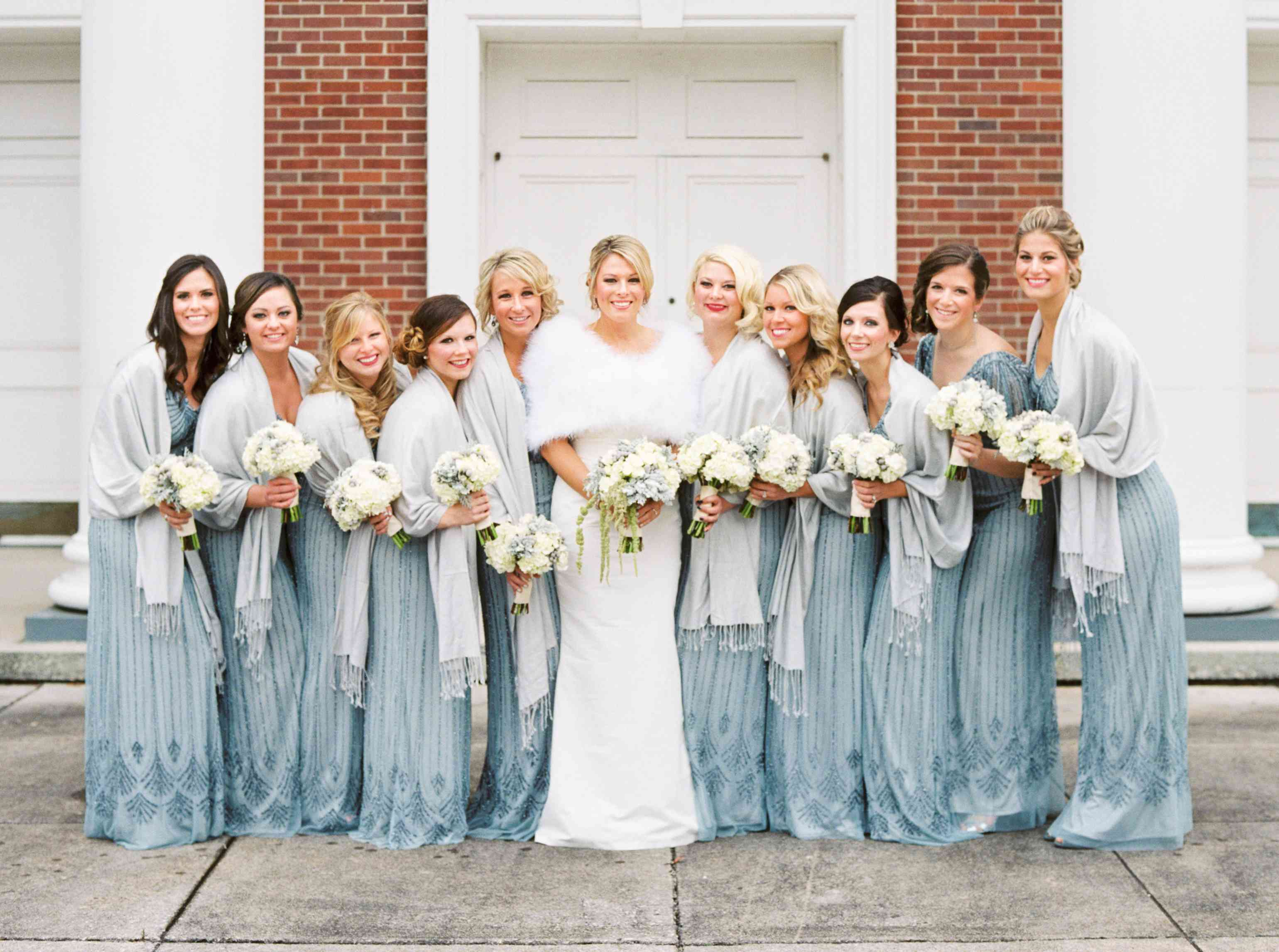 7 Bridal Parties That Looked So Glamorous In Their Winter Wedding Wear,White Maxi Dress Wedding Cheap
