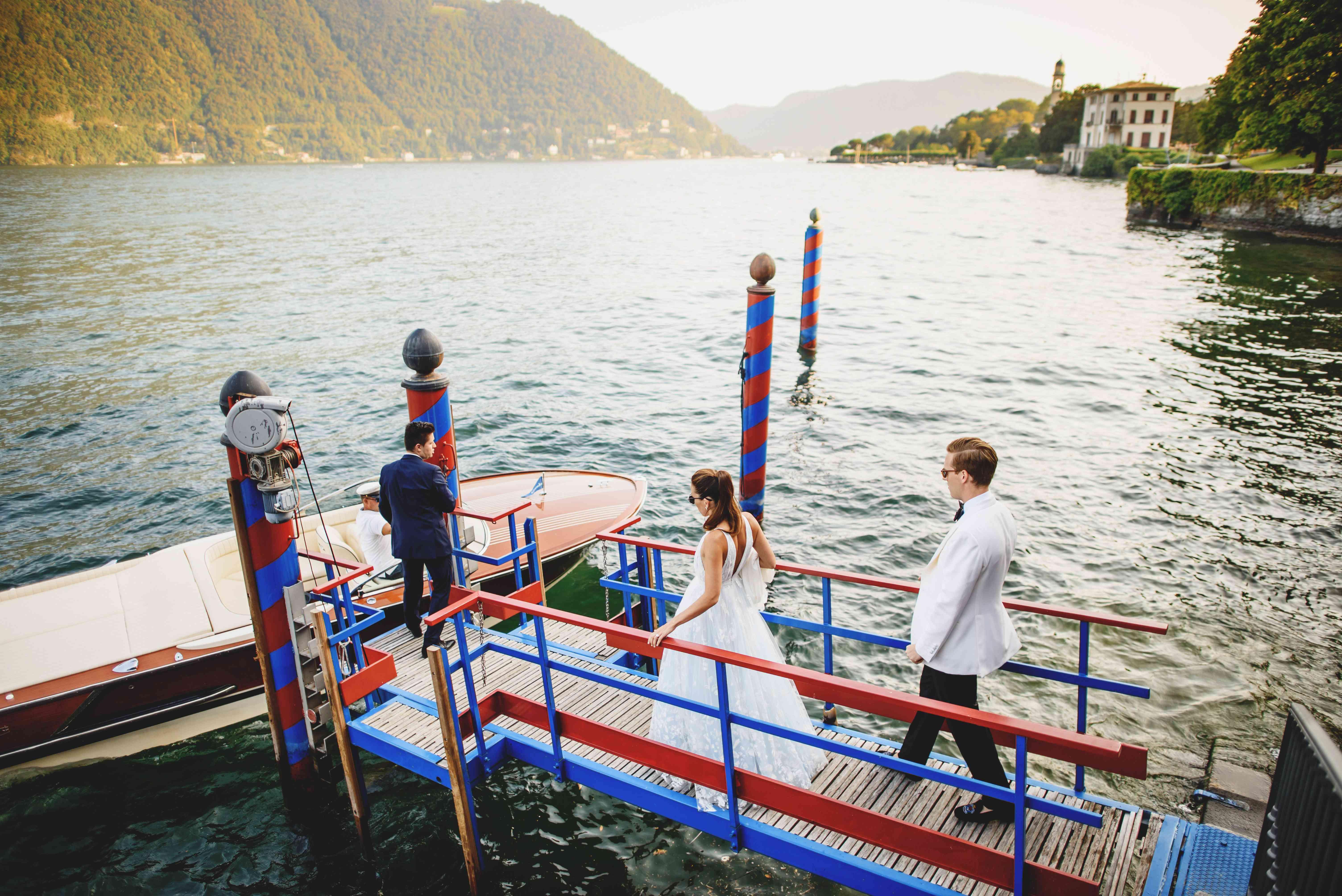 bride and groom boat transportation
