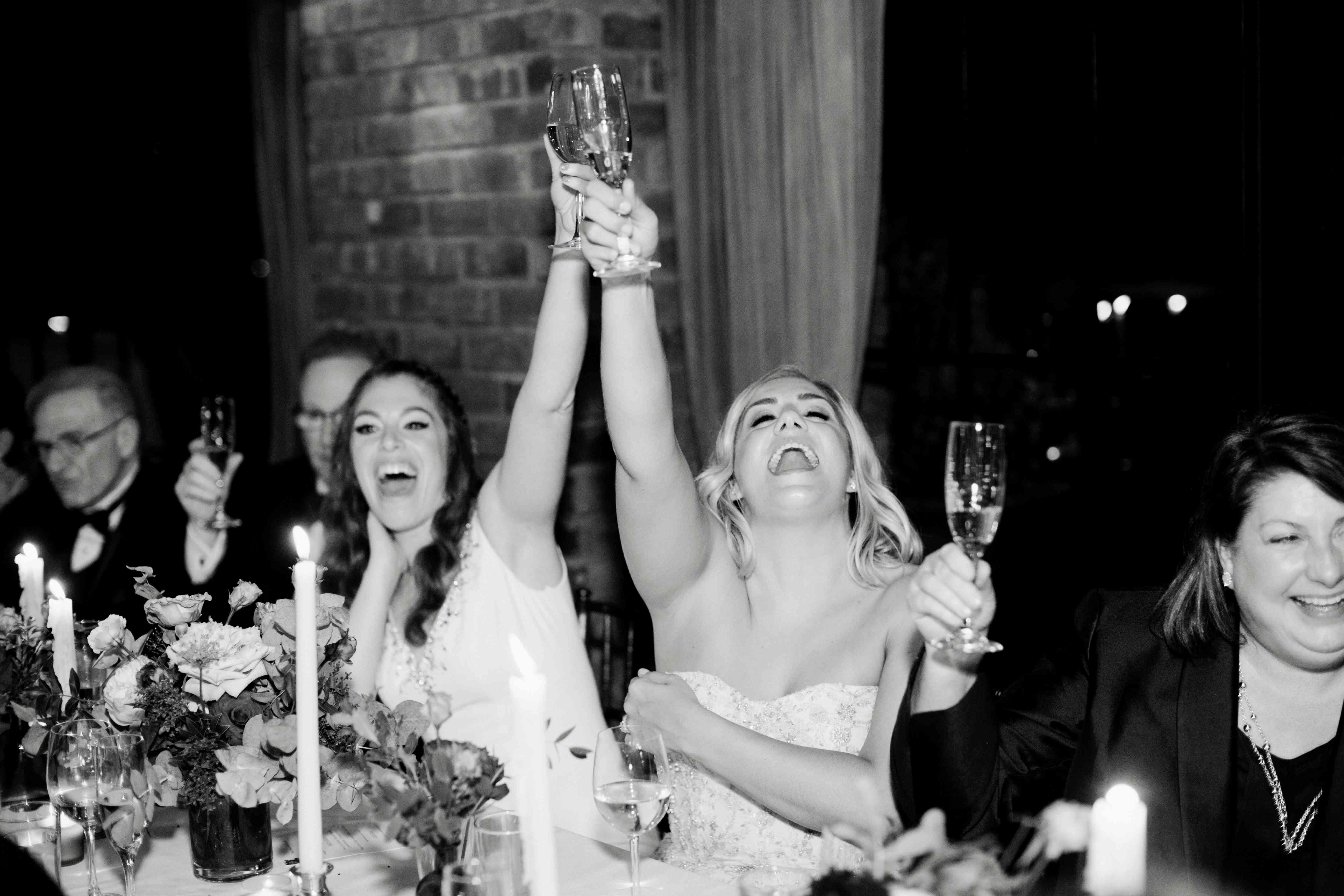 toast cheers lesbian wedding