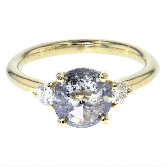 Concierge Diamonds Inc. Salt and Pepper Diamond Engagement Ring with White Diamond Side Stones