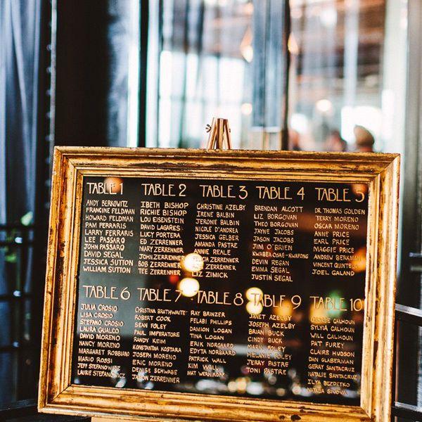 Mirror seating chart at wedding reception