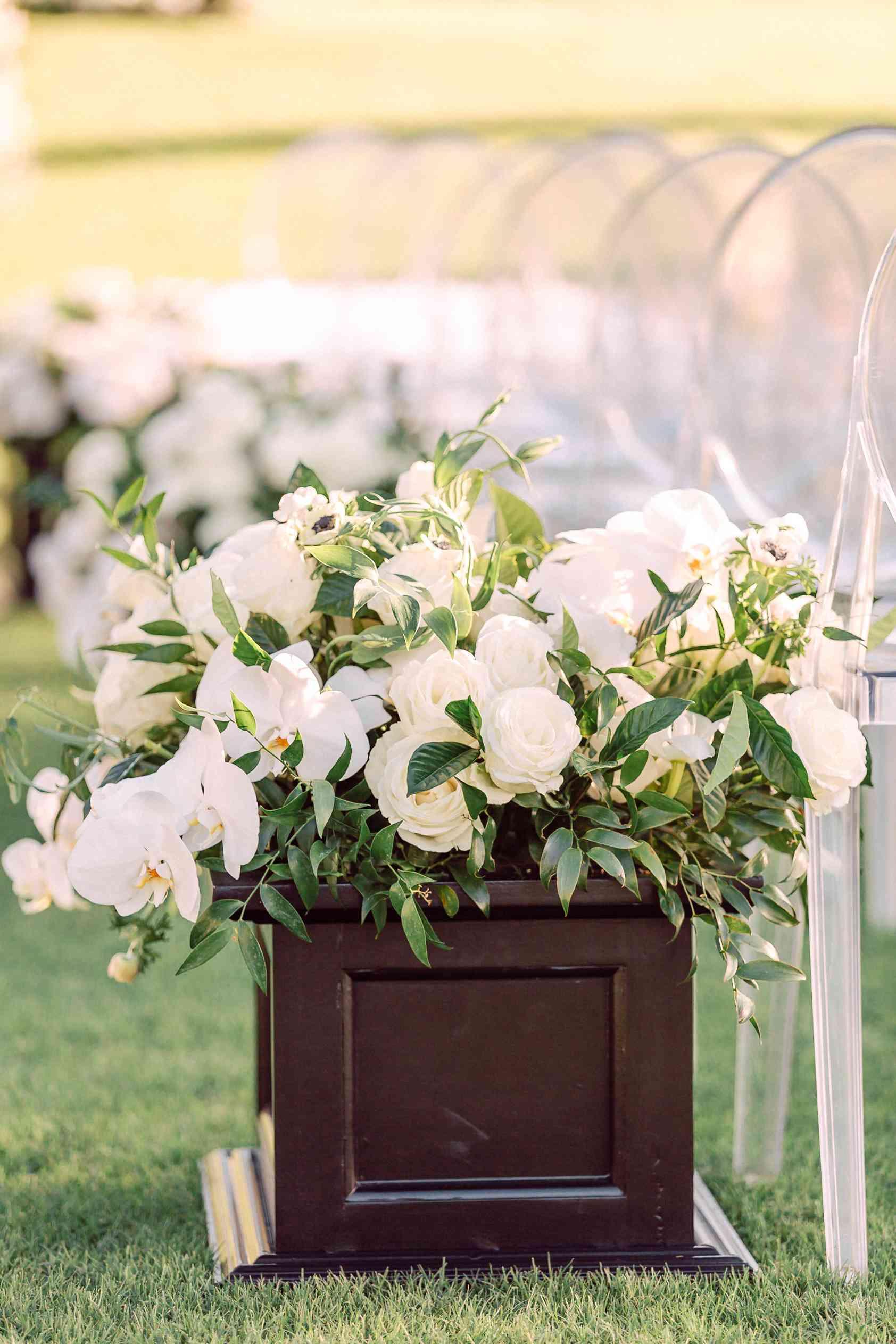 white flowers ceremony aisle decor