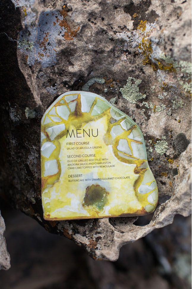 Wedding Menu Written on a Geode Rock