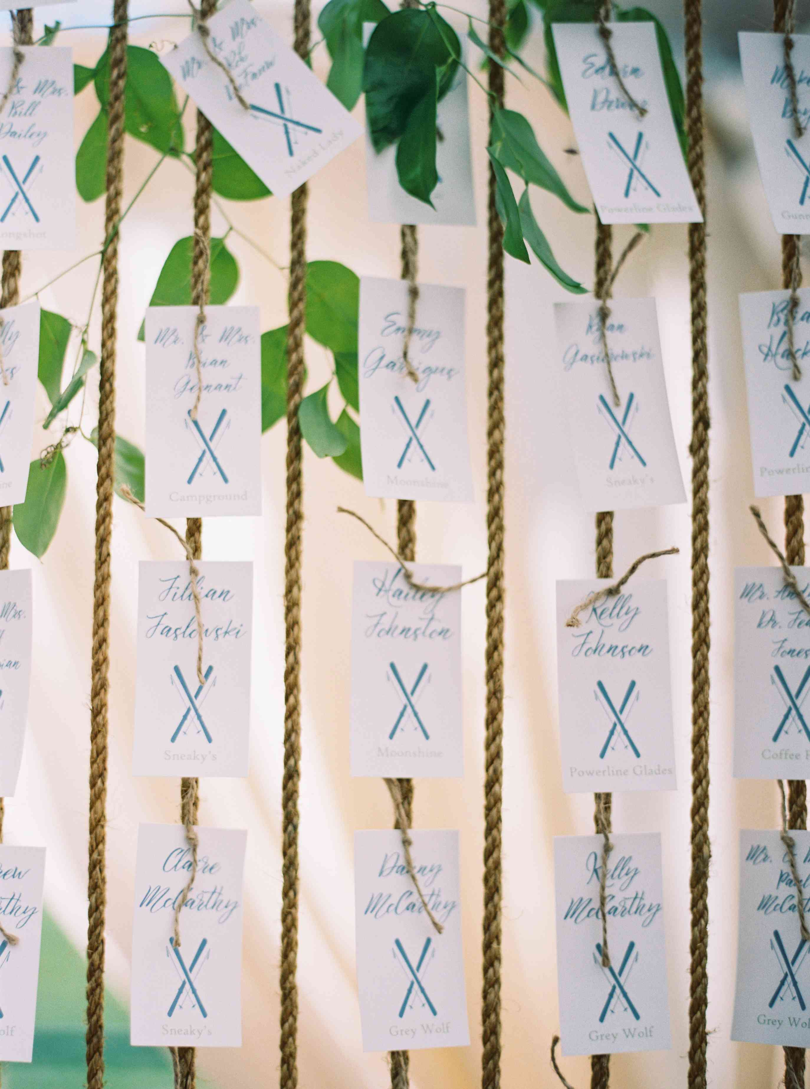 Blue and White Escort Cards