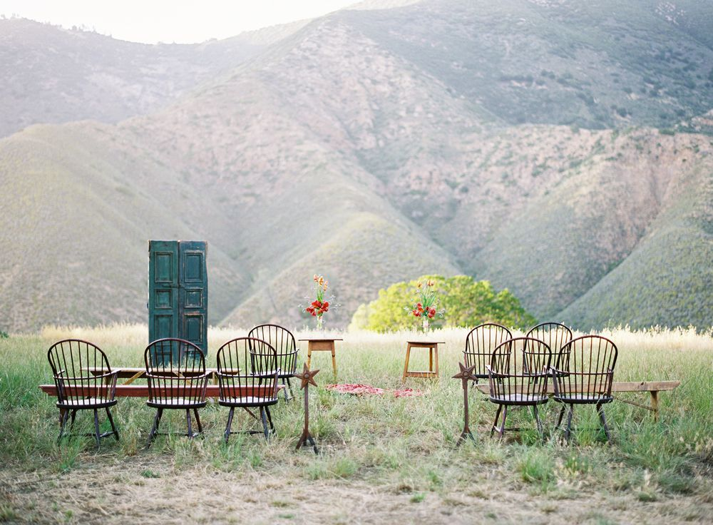 <p>An intimate ceremony with sparse furniture.</p>