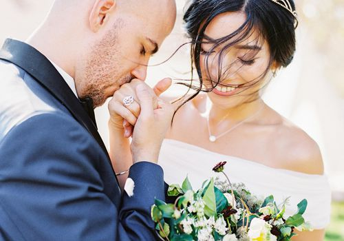 Bride in Off-the-Shoulder Wedding Dress
