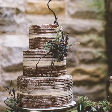 An almost-naked chocolate wedding cake adorned with a bushel of grapes and a modern decorative branch