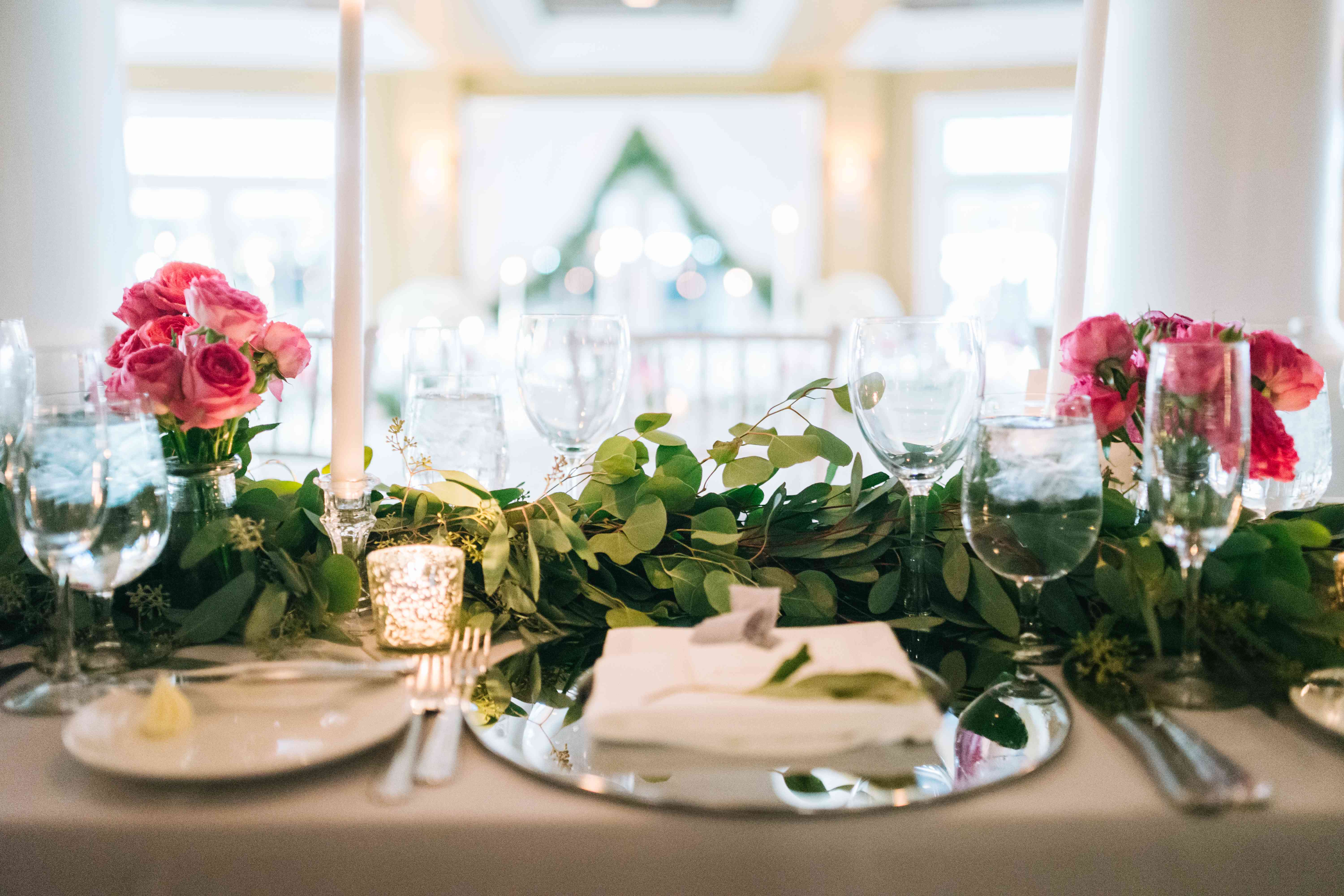 Reception Table Greenery Runner