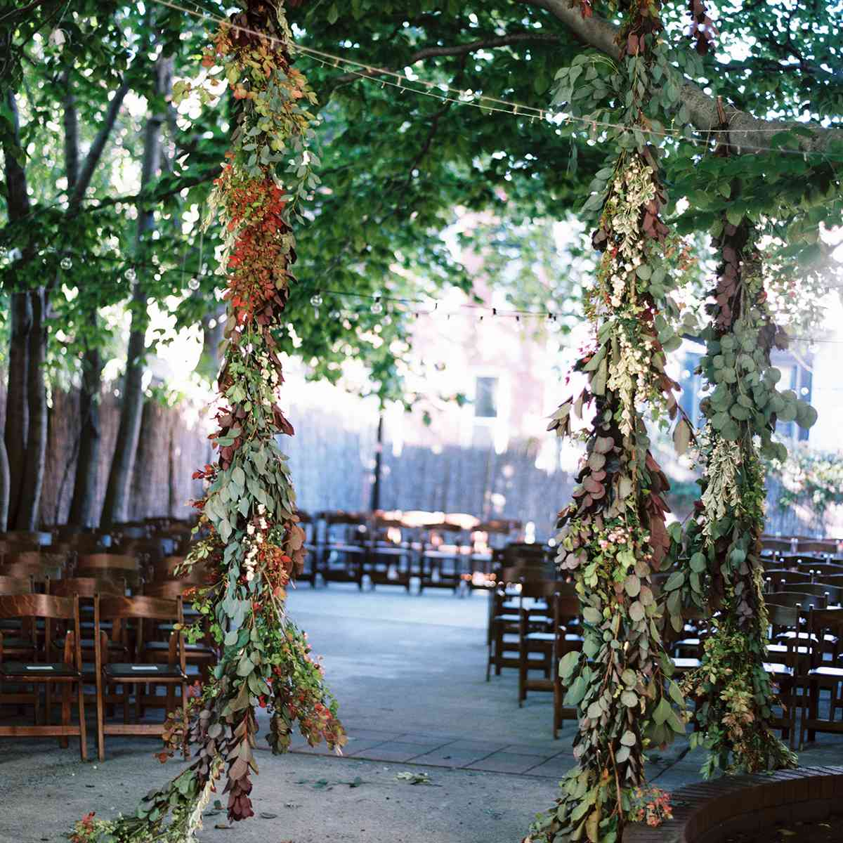 floral installation with greenery