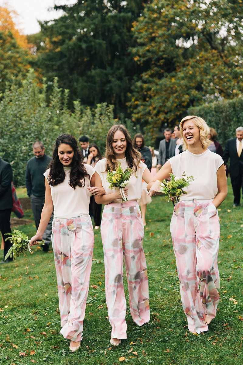 Three bridesmaids printed jumpsuits