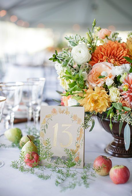 Gold and floral table number