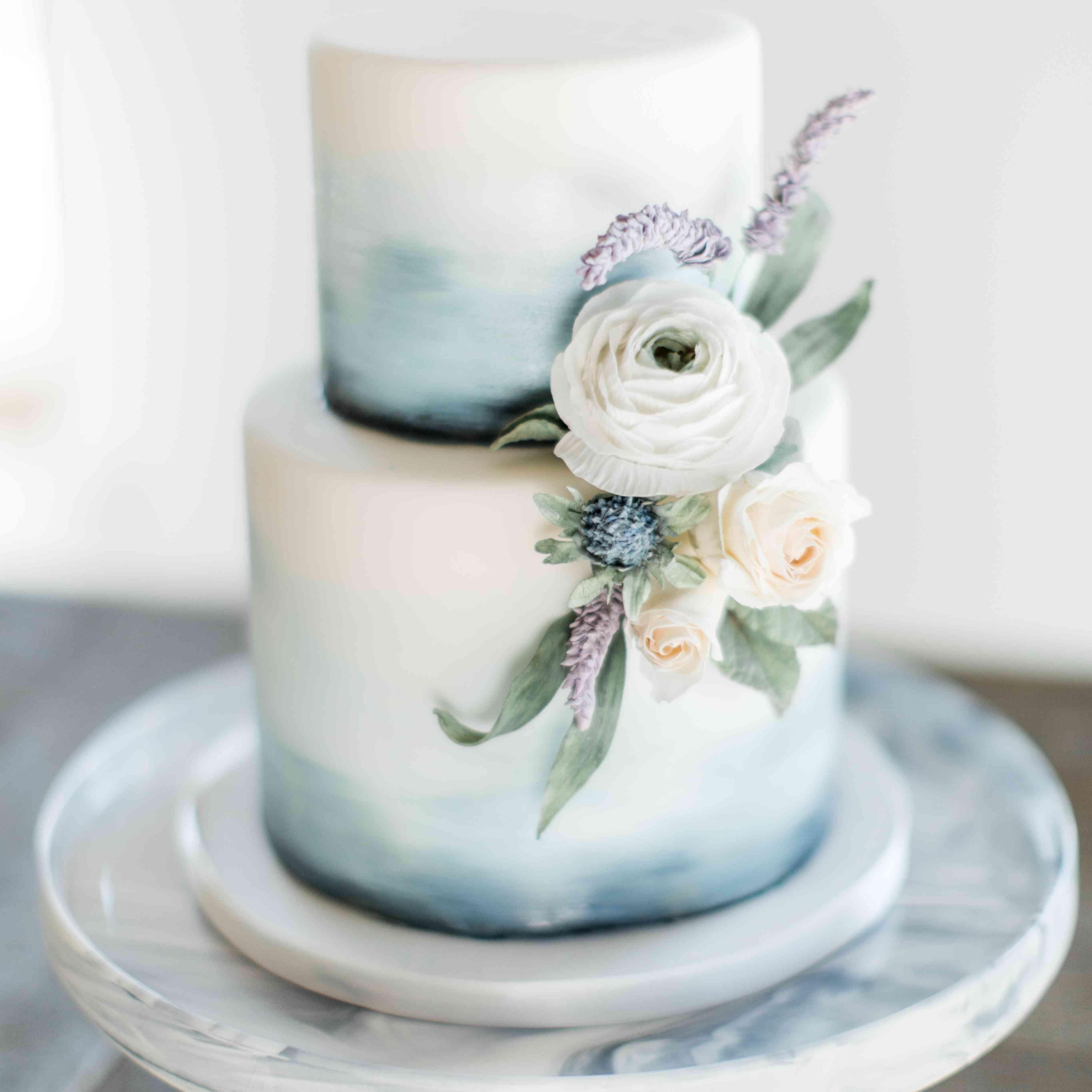 watercolor blue wedding cake