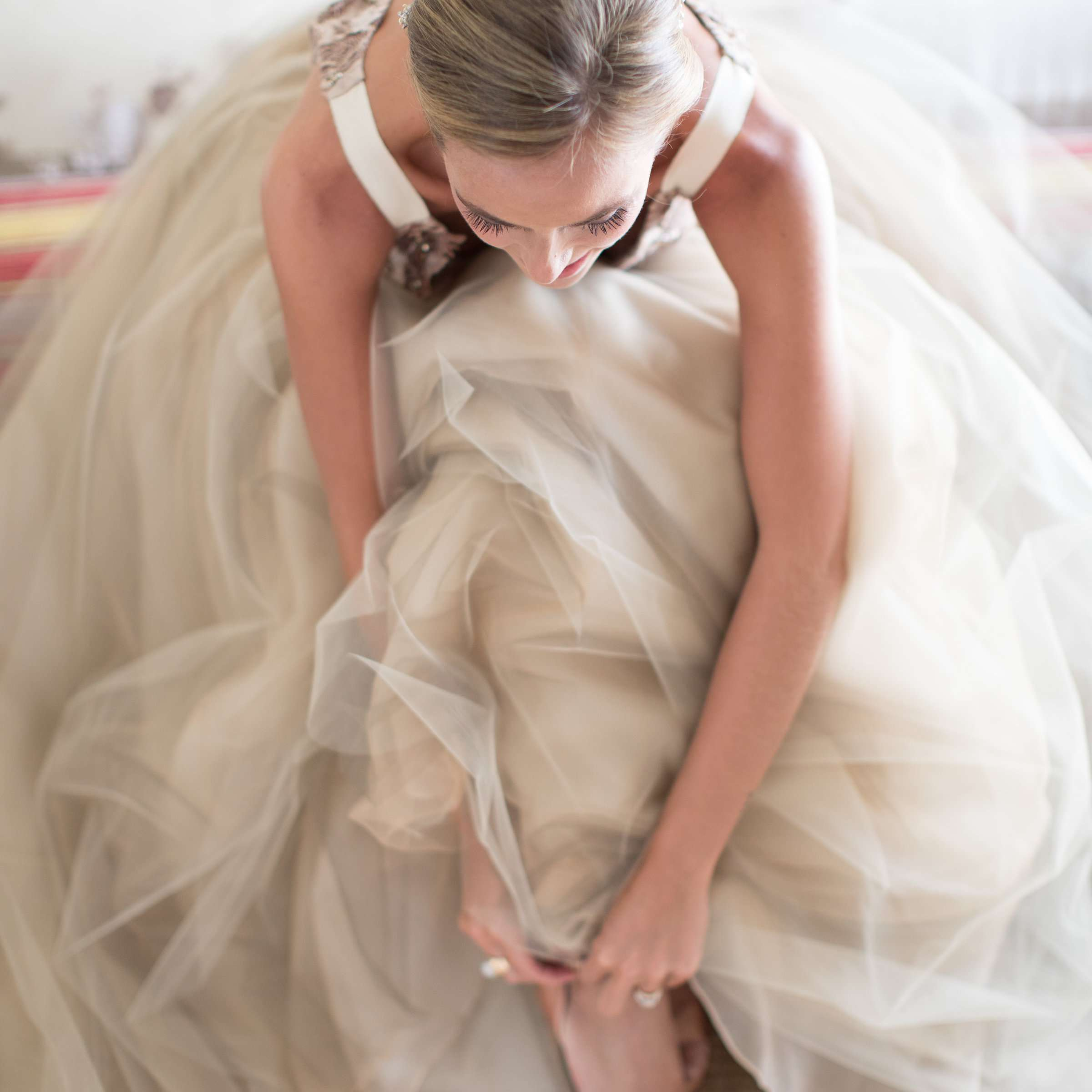 bride in champagne dress