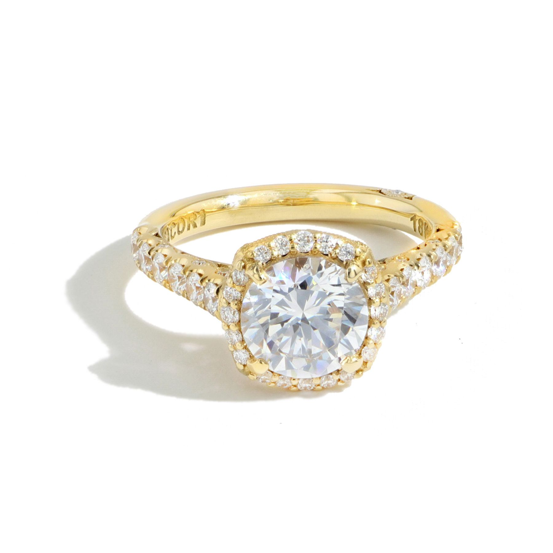 Petite Crescent Cathedral Cushion Bloom Engagement Ring