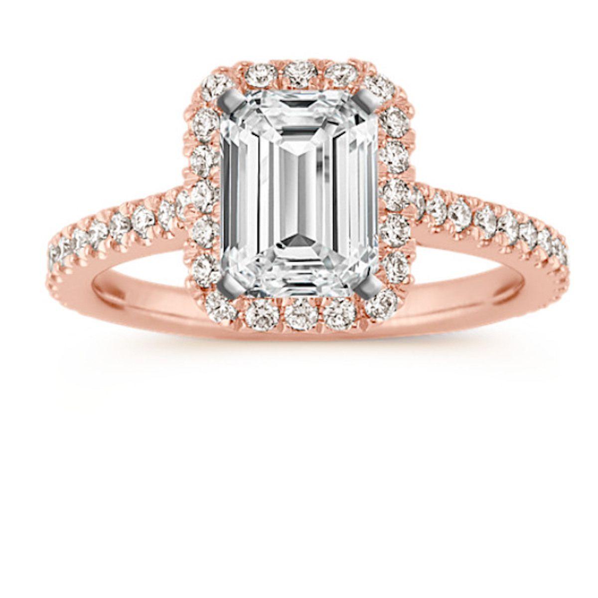 Shane Co. Halo Diamond Engagement Ring