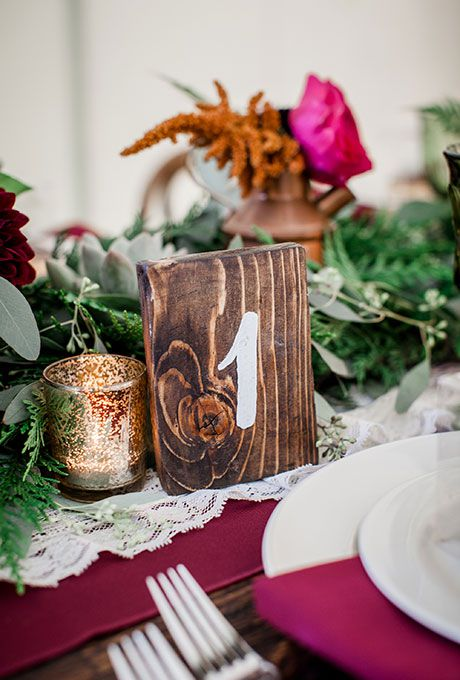Hand-painted wooden table number